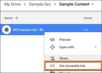 The link to 'get shareable link' in Google Drive