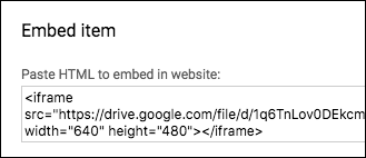 The embed code in Google Drive